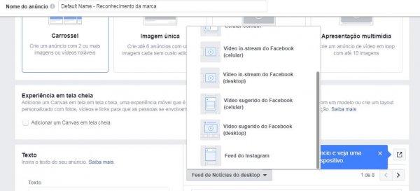 Crie os mesmos anúncios para Facebook e Instagram