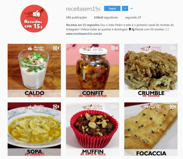marketing mídias sociais receitas 15 segundos