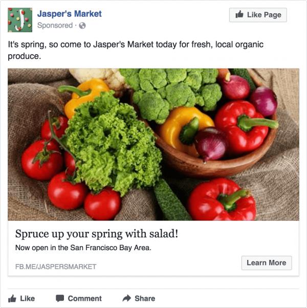 tipos de anuncio no facebook - imagem unica